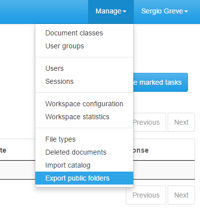 Select Manage / Export public folders